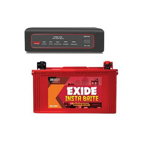 Exide 650VA Sinewave Home UPS And Insta Brite 100AH Inverter Battery Combo