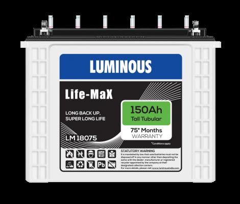 LUMINOUS LIFE MAX - LM 18075 150Ah TUBULAR BATTERY